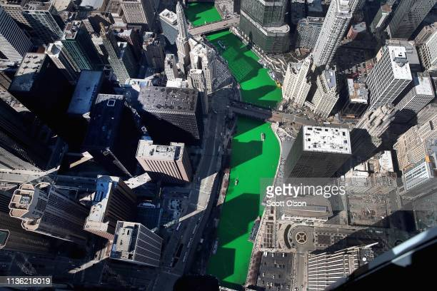 An aerial view of the Chicago River as it winds its way through downtown after being dyed green in celebration of St. Patrick's day on March 16, 2019...