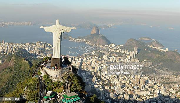 An aerial view of the 'Christ the Redeemer' statue on top of Corcovado mountain on July 27 2011 in Rio de Janeiro Brazil
