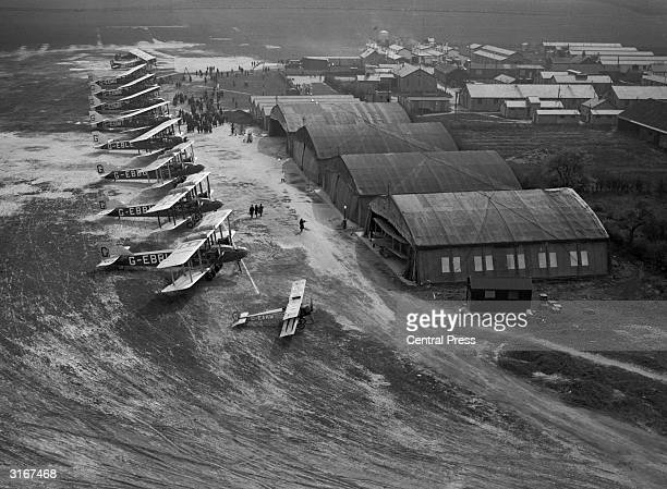 An aerial view of the christening ceremony for five Handley Page airliners of Imperial Airways at Croydon Aerodrome London 30th March 1926 The...