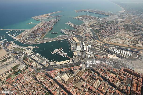 An aerial view of the circuit during practice for the European Formula One Grand Prix at the Valencia Street Circuit on August 22 in Valencia, Spain.
