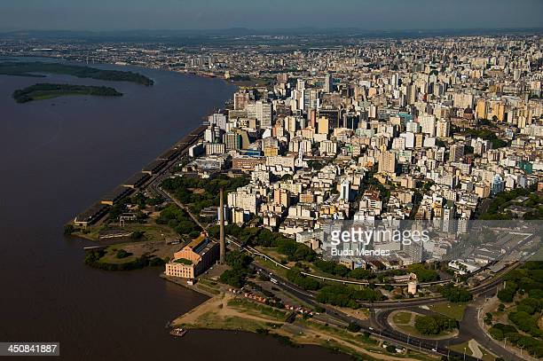 An aerial view of the city located the shores of the Guaiba Lake on November 19 2013 in Porto Alegre Brazil The Arena Beira Rio will be a stadium...