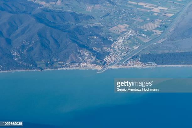 An aerial view of the city of Castiglione Della Pescaia - Province of Grosseto, Italy