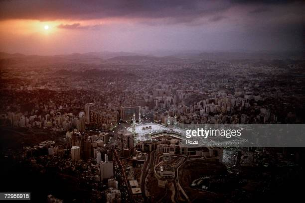 An aerial view of the city of Mecca and of the Masjid AlHaram mosque at sunset during the hajj February 2003 in Mecca Saudi Arabia Over five days of...