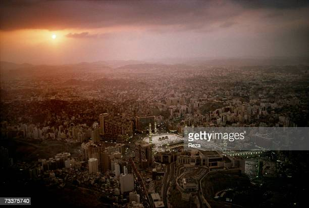 An aerial view of the city of Mecca and of the Masjid AlHaram mosque at sunset on February 2003 in Mecca Saudi Arabia