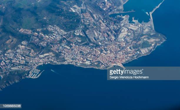 An aerial view of the city of Piombino - Province of Livorno, Italy