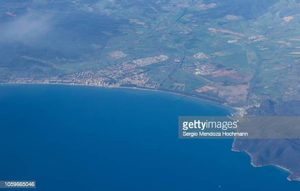 An aerial view of the city of Puntone di Scarlino - Province of Grosseto, Italy