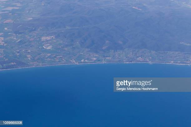 An aerial view of the city of Riotorto - Province of Livorno, Italy