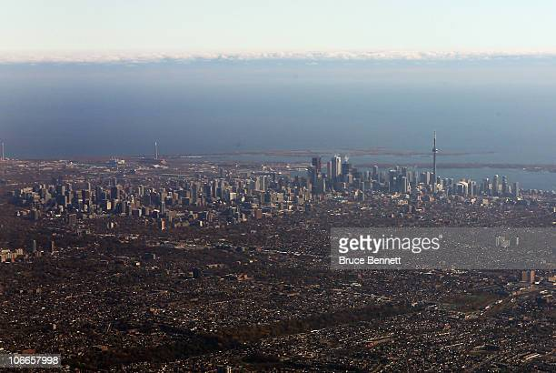 An aerial view of the city of Toronto photographed on November 9 2010 in Toronto Canada