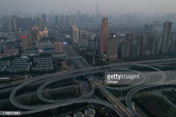 An aerial view of the city skyline is seen on February 3 2020 in Wuhan Hubei province China The number of those who have died from the Wuhan...