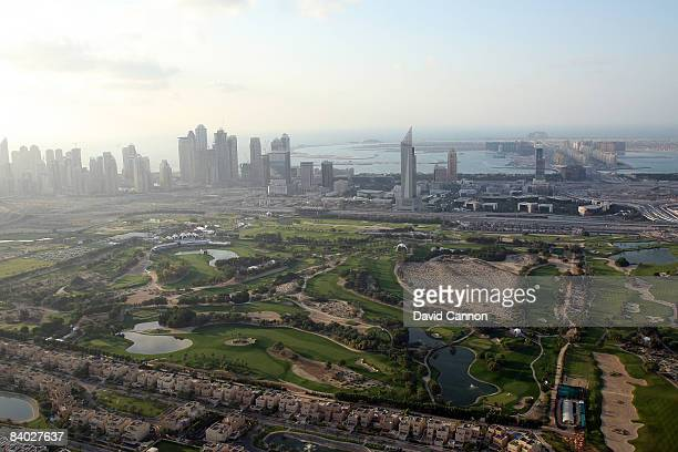An aerial view of the club taken from a hot air balloon during the third round of the Dubai Ladies Masters on the Majilis Course at the Emirates Golf...