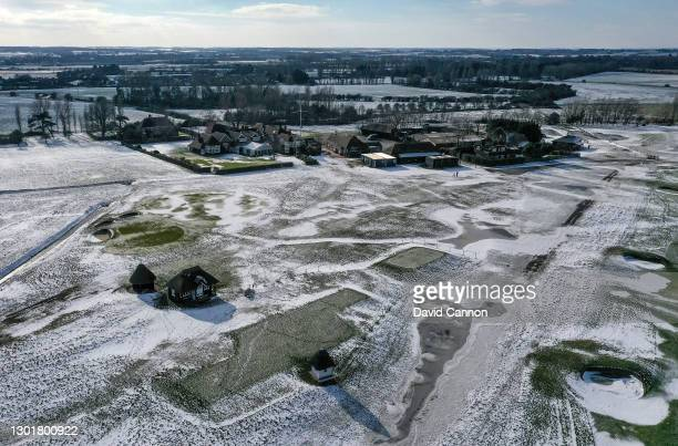 An aerial view of the clubhouse complex with the tee on the par 4, first hole in the foreground during a period of extreme cold weather at Royal St....