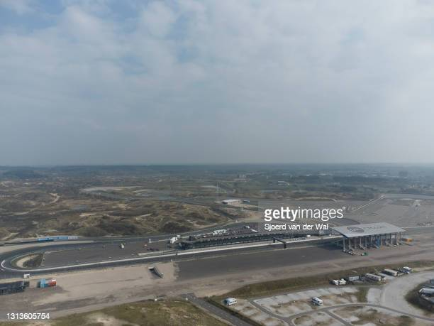 An aerial view of the CM.com Circuit Zandvoort race track in the dunes at the North Sea coast on April 20, 2021 in Zandvoort, The Netherlands.