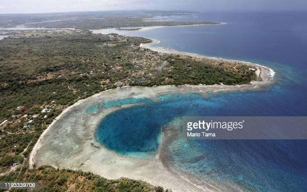 An aerial view of the coastline on December 07 2019 in Port Vila Vanuatu Satellite data show sea level has risen about 6mm per year around Vanuatu...
