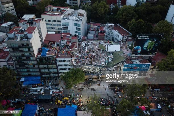 An aerial view of the collapsed building aftermath of the Tuesday's magnitude 71 earthquake in Mexico City Mexico on September 22 2017