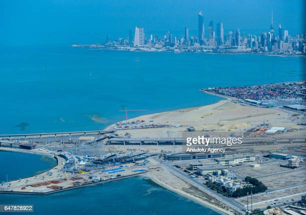 An aerial view of the construction of Sheikh Jaber AlAhmad AlSabah causeway near Kuwait City Kuwait on March 4 2017 The Sheikh Jaber AlAhmad AlSabah...
