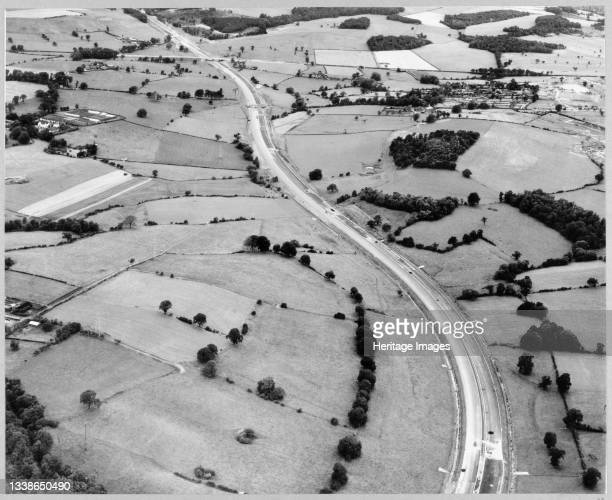 An aerial view of the construction of the Birmingham to Preston Motorway , north of Hanchurch, showing Section C.2 through to the boundary with D.1....