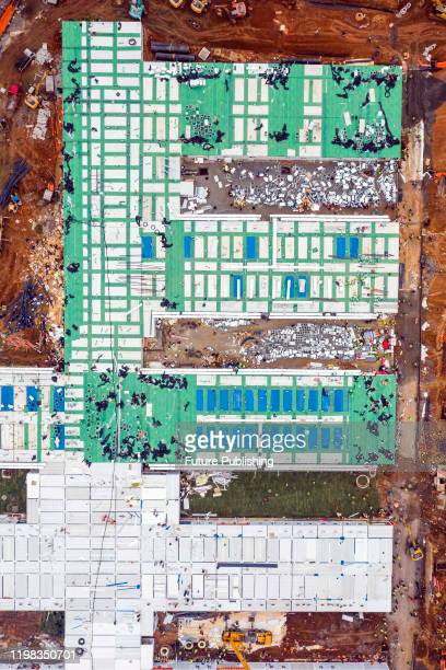 An aerial view of the construction site of Huoshenshan Hospital in Wuhan in central China's Hubei province Sunday Feb 02 2020 The construction of...