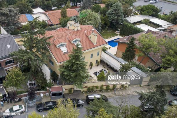 An aerial view of the Consulate General of Saudi Arabia as waiting continues on the disappearance of Prominent Saudi journalist Jamal Khashoggi at...