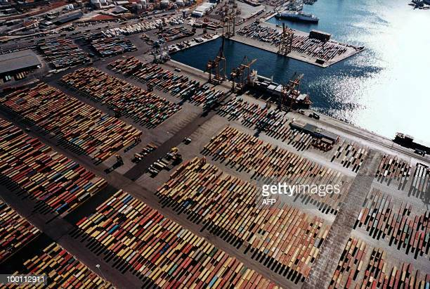 An aerial view of the container terminal in Piraeus taken in October 2009. Greece has told Chinese shipping giant Cosco that strikes which frequently...