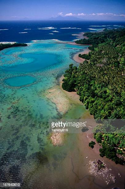 an aerial view of the coral coast  - papua new guinea stock pictures, royalty-free photos & images