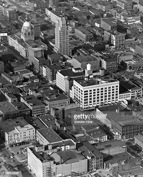 An aerial view of the Court House and Lincoln Bank Tower in Fort Wayne Indiana