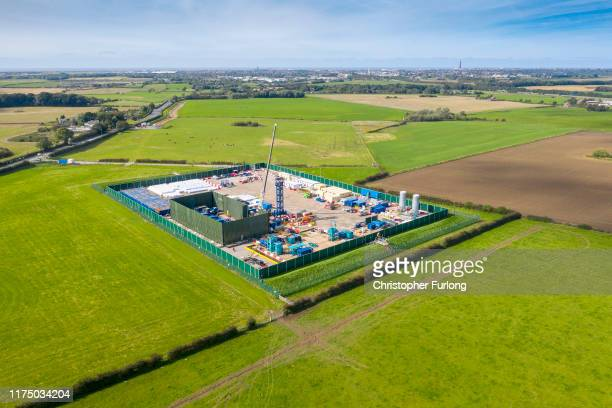 An aerial view of the Cuadrilla shale gas extraction site at Preston New Road, near Blackpool on September 16, 2019 in Preston, England. Operations...