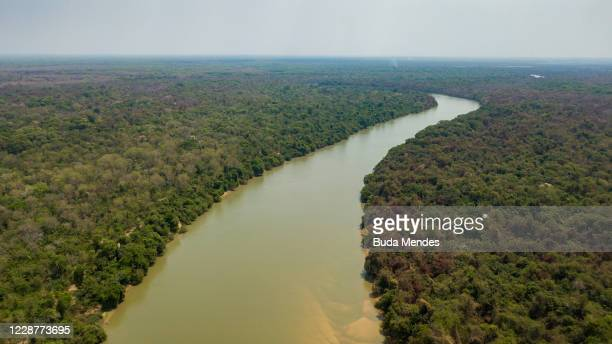 An aerial view of the Cuiaba River that divides the states of Mato Grosso and Mato Grosso do Sul in Pantanal on September 25, 2020 in Pocone, Brazil....