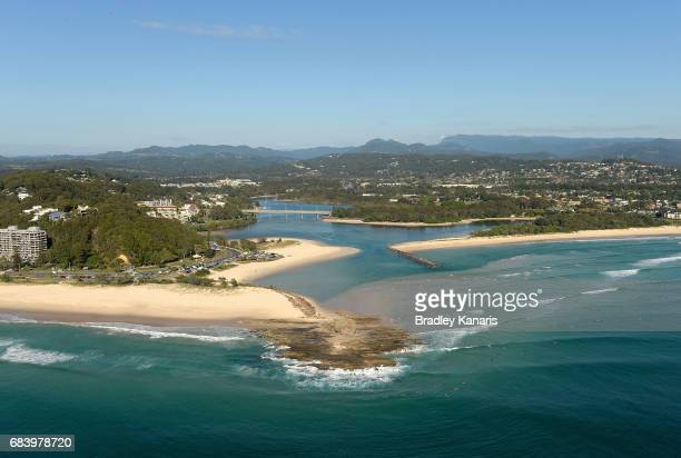 An aerial view of the Currumbin Beachfront can be seen it will host Road Cycling and Race Walk events at the 2018 Commonwealth Games on May 17 2017...