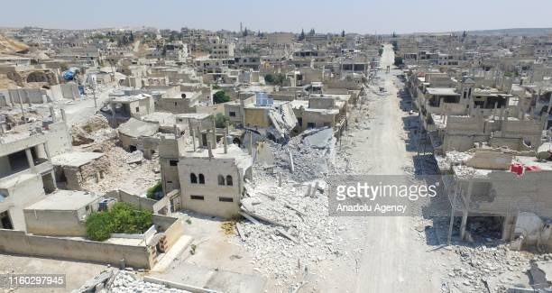 An aerial view of the damaged buildings after the attacks of Assad regime and its supporters in the de-escalation zone of Khan Shaykhun town of...