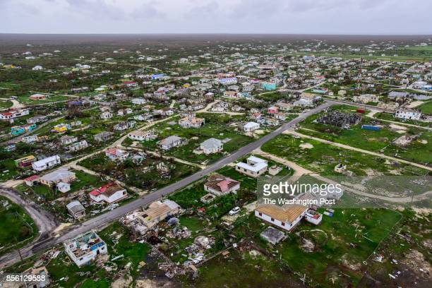An aerial view of the damaged town of Codrington on the island of Barbuda in the aftermath of Hurricane Irma on Monday September 25 in Codrington...
