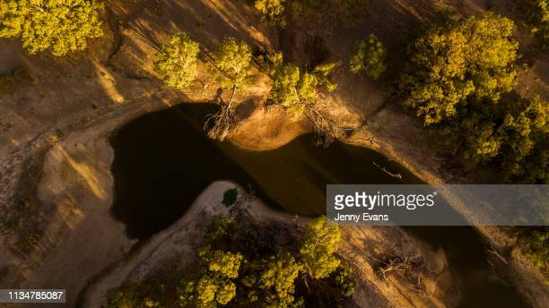 An aerial view of the Darling-Barka river on March 05, 2019 in Wilcannia, Australia. The Barkandji people - meaning the river people - live in...
