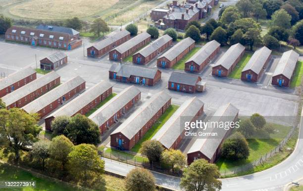 An aerial view of the decommissioned Napier Barracks on September 19,2020 in Folkstone, England.