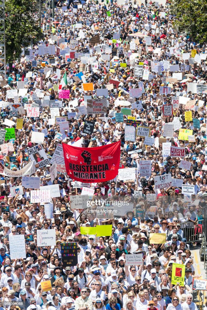 An aerial view of the demonstrators at 'Families Belong Together - Freedom for Immigrants March Los Angeles' at Los Angeles City Hall on June 30, 2018 in Los Angeles, California.