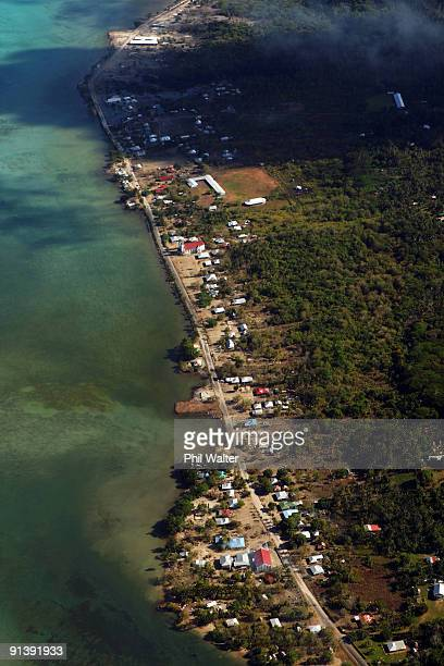 An aerial view of the devastaion along the South East coastline of Samoa is seen following the 83 magnitude strong earthquake which struck 200km from...