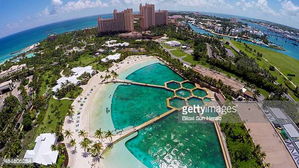 An aerial view of the Dolphin Cay attraction at Atlantis Paradise Island in the Bahamas where all of Marine Life Oceanarium's dolphins now reside