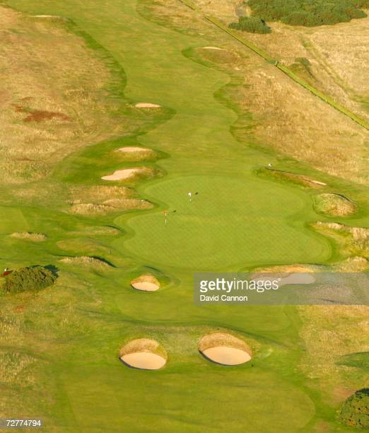 An aerial view of the double green of the 4th hole left and the 14th 'Spectacles' on the Carnoustie Championship Course venue for the 2007 Open...