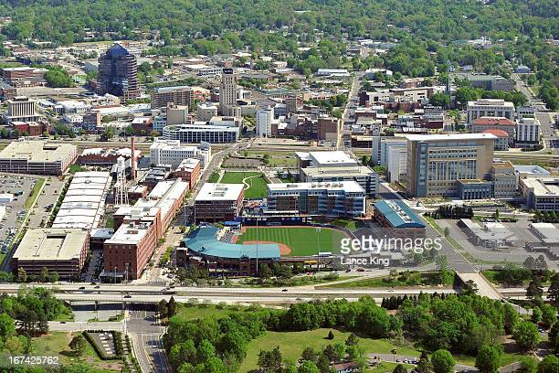 An aerial view of the downtown area of Durham North Carolina including the Durham Bulls Athletic Park on April 21 2013