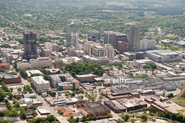 An aerial view of the downtown Raleigh area on April 21 2013 in Raleigh North Carolina