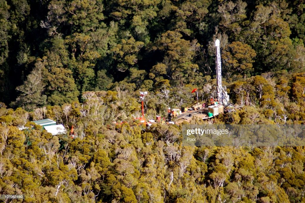 An aerial view of the drilling rig at the Pike River Coal Mine on November 23, 2010 in Greymouth, New Zealand. Police authorities confirmed two Australians, two Britons, and a South African are amongst the New Zealand mine crew reported missing following a blast at the mine 50 kilometers north of Greymouth on New Zealand's west coast on November 19. There has been no contact with the missing miners since the blast and specialist safety rescue crews are on standby until air and gas levels are cleared as safe for the rescue operation to commence. (Photo by NZPA-Pool/Getty Images) Aerial view of drilling rig at Pike River Coal Mine, Greymouth, New Zealand, Tuesday, November 23, 2010. Credit:NZPA / POOL