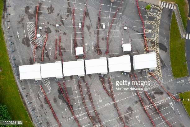 An aerial view of the drive-through coronavirus testing centre taken while it is closed at the Cardiff City Stadium on May 3, 2020 in Cardiff, United...