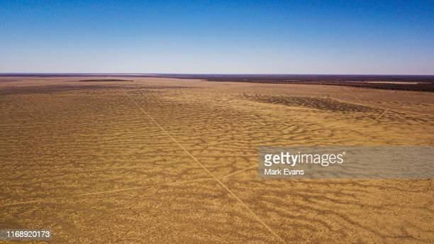 An aerial view of the dry Menindee lake on August 15 2019 in Menindee Australia Local communities in the Darling River area continue to face clean...