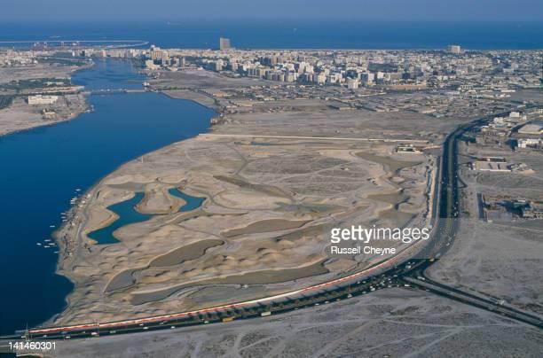 An aerial view of the Dubai Creek Golf and Marina Yacht Club golf course on 1st February 1991 in Dubai United Arab Emirates