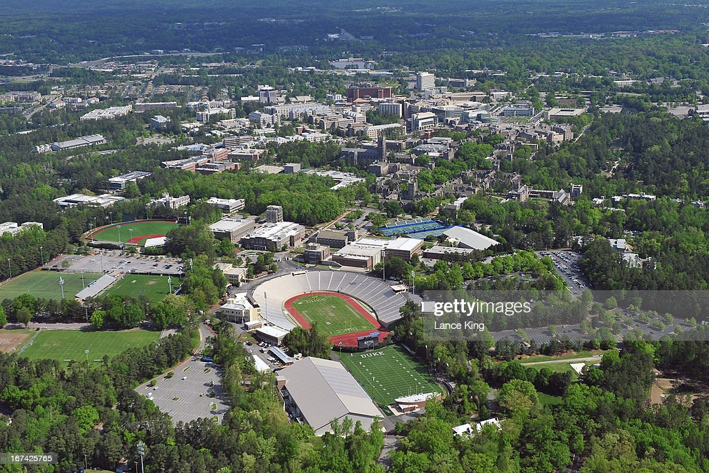 An aerial view of the Duke University campus and surrounding area including Wallace Wade Stadium (lower center) on April 21, 2013 in Durham, North Carolina.