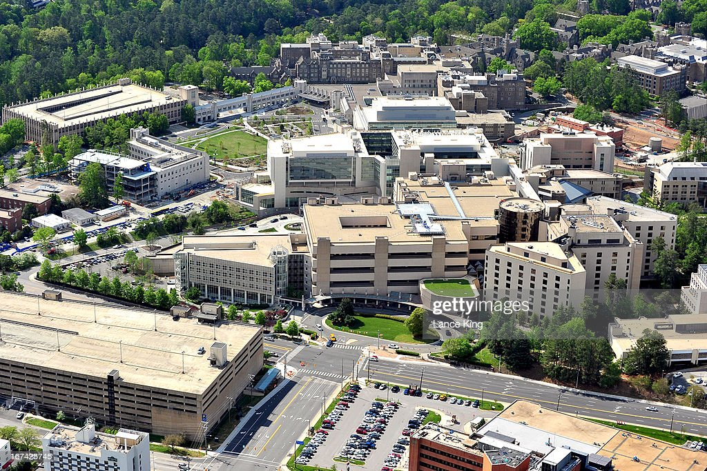 An aerial view of the Duke University Hospital (center) and surrounding medical facilities on April 21, 2013 in Durham, North Carolina.