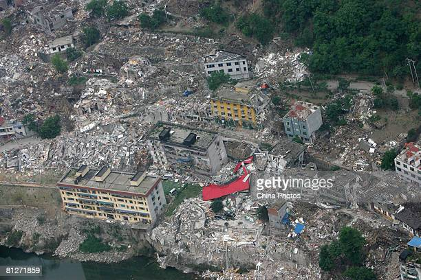 An aerial view of the earthquake-stricken area is seen May 28, 2008 in Mianyang of Sichuan Province, China. More than 68,000 people are now known to...