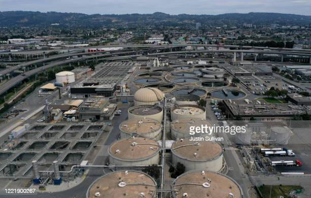 An aerial view of the East Bay Municipal Utility District Wastewater Treatment Plant on April 29, 2020 in Oakland, California. Stanford University...