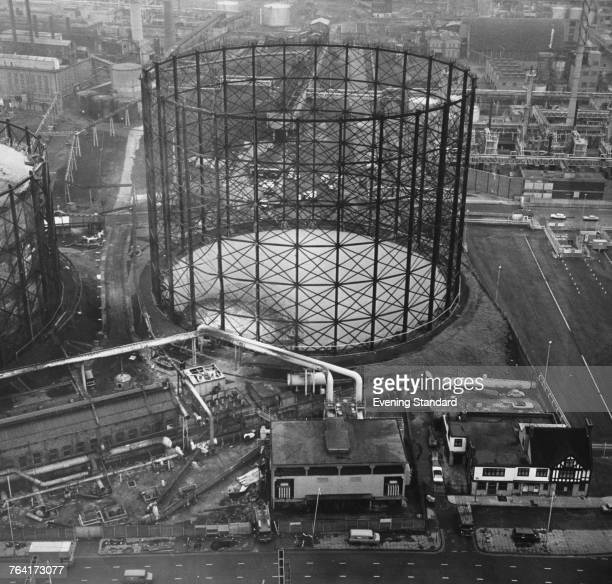 An aerial view of the East Greenwich Gas Works London the morning after a bomb planted by the Provisional Irish Republican Army caused a major fire...
