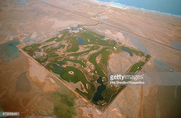 An aerial view of the Emirates Golf Club Dubai circa 1990