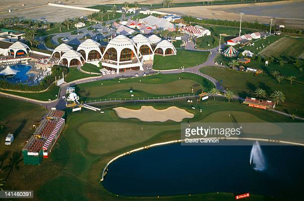 An aerial view of the Emirates Golf Club, the first green grass golf course in the Middle East on 18th February 1990 at the Emirates Golf Club in...