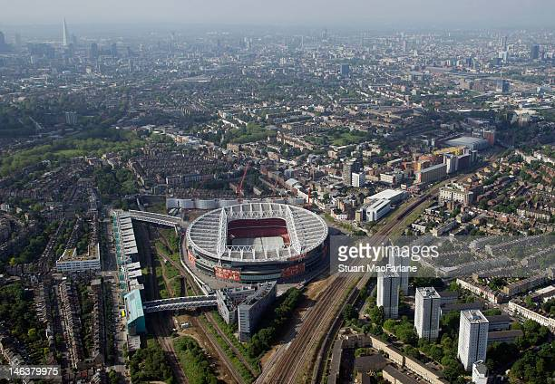 An aerial view of The Emirates Stadium home of Arsenal Football Club on June 14 2012 in London England